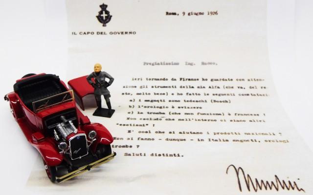RIO4606/P - ALFA ROMEO 1750 TORPEDO - Lettera di Mussolini all'ing. Nicola Romeo - With Mussulini Figure and letter